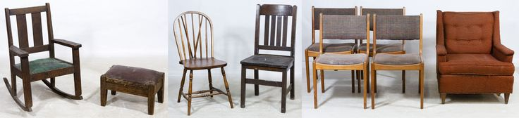 Lot 77: Oak Arts and Crafts Child Rocker and Foot Stool; Mission style with covered straw cushion; together with an assortment of seven chairs with examples from Kroehler and Hayward Wakefield