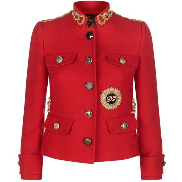 Dolce & Gabbana Military Jacket (102,755 MXN) ❤ liked on Polyvore featuring outerwear, jackets, dolce gabbana jacket, embellished jackets, military jackets, army jackets and red military jacket