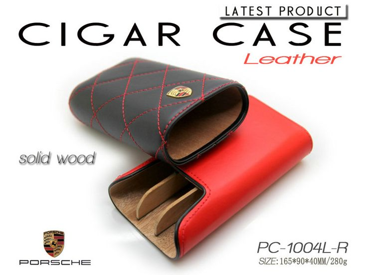 High-end Black Red Portable Cedar Wood Lined Cigars Case 3 Tube Stitching Leather Cigar Case Cigarette Holder Travel Humidor Box