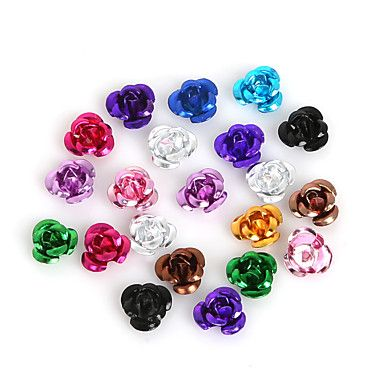 beadia+100pcs+αλουμινίου+αυξήθηκε+λουλούδι+6+χιλιοστά+μεταλλικά+ευρήματα+κοσμήματα+χάντρες+–+EUR+€+2.93