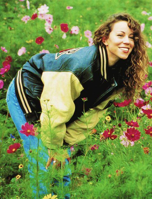 Mariah Carey; Music Box-era flower field photo shoot, 1993 (Photo #2)