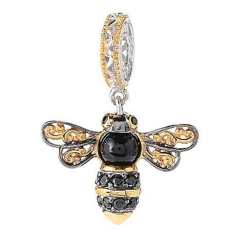 150-249 - Gems en Vogue 6mm Onyx & Black Spinel Bumblebee Drop Charm