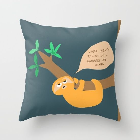 Sloth on the hang Throw Pillow #pillow #sloth #cute #society6 #pessimist #sengångare #adorable