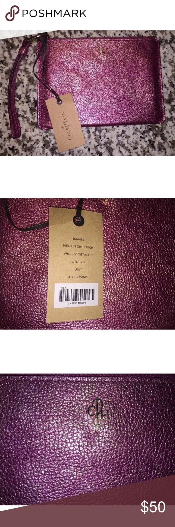 """New Cole Haan Jitney II winery wristlet purse rose New with tags Cole Haan Jitney II medium zip pouch. Winery metallic color which has tones of rose gold/ and blush sheen. 7 3/4"""" wide and 5 1/2"""" tall. Cole Haan Bags Clutches & Wristlets"""