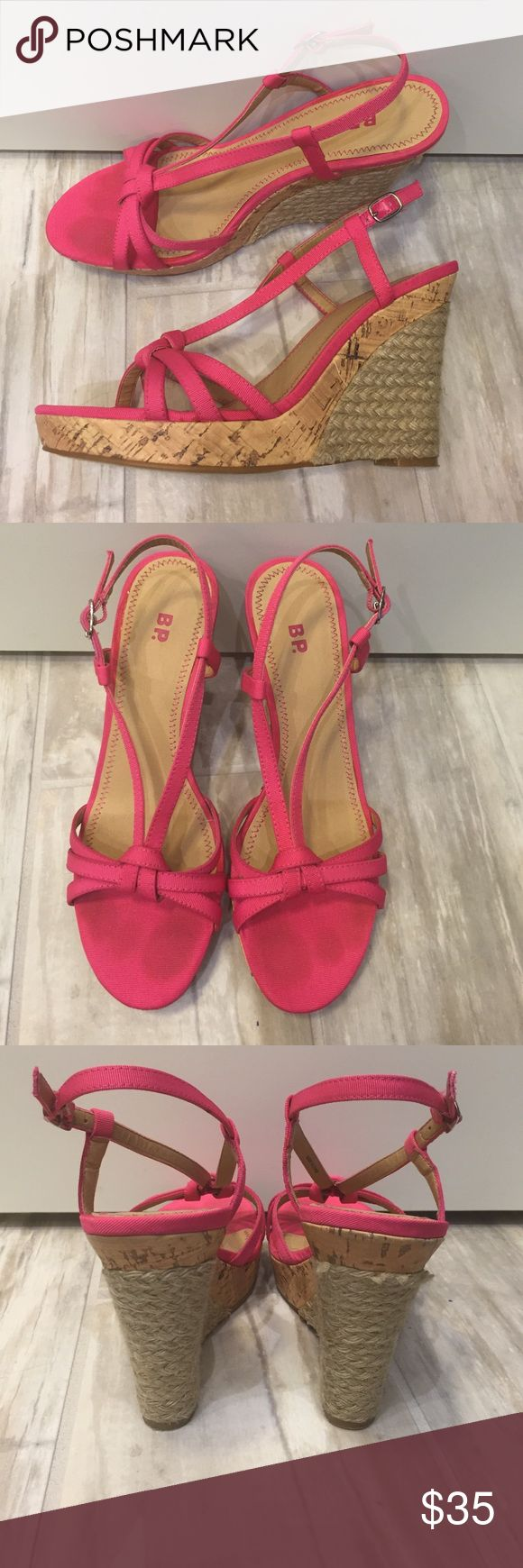 Pink sandal wedges Hot pink sandal wedges. Worn once- great condition bp Shoes Wedges