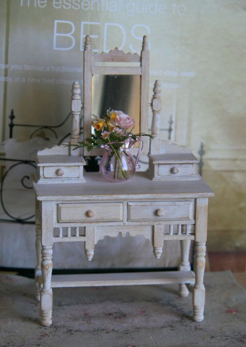 SALE Australian Edwardian Dressing Table with Flowers, for Dollhouse on Etsy, $120.00   Dollhouse miniatures   Pinterest   Dressing tables, Doll