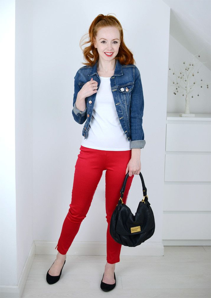 casual outfit with red pants and denim jacket