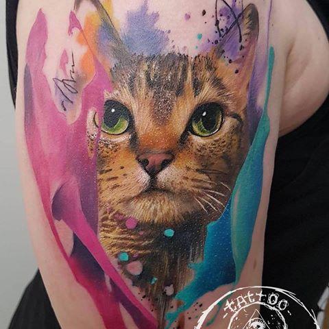 Cattattoo by Max Ghostar at Freibeuter Tattoo Winterthur #cat #pettattoo #cattattoo #colortattoo #realism #realismtattoo #aquarelltattoo #aquarelle #watercolortattoo #inked #winti #winterthur #zurich #freibeuter #maxghostar #freibeutertattoo #freibeuter_tattoo #inked #tattoo #schweiz #art #miau #portraittattoo