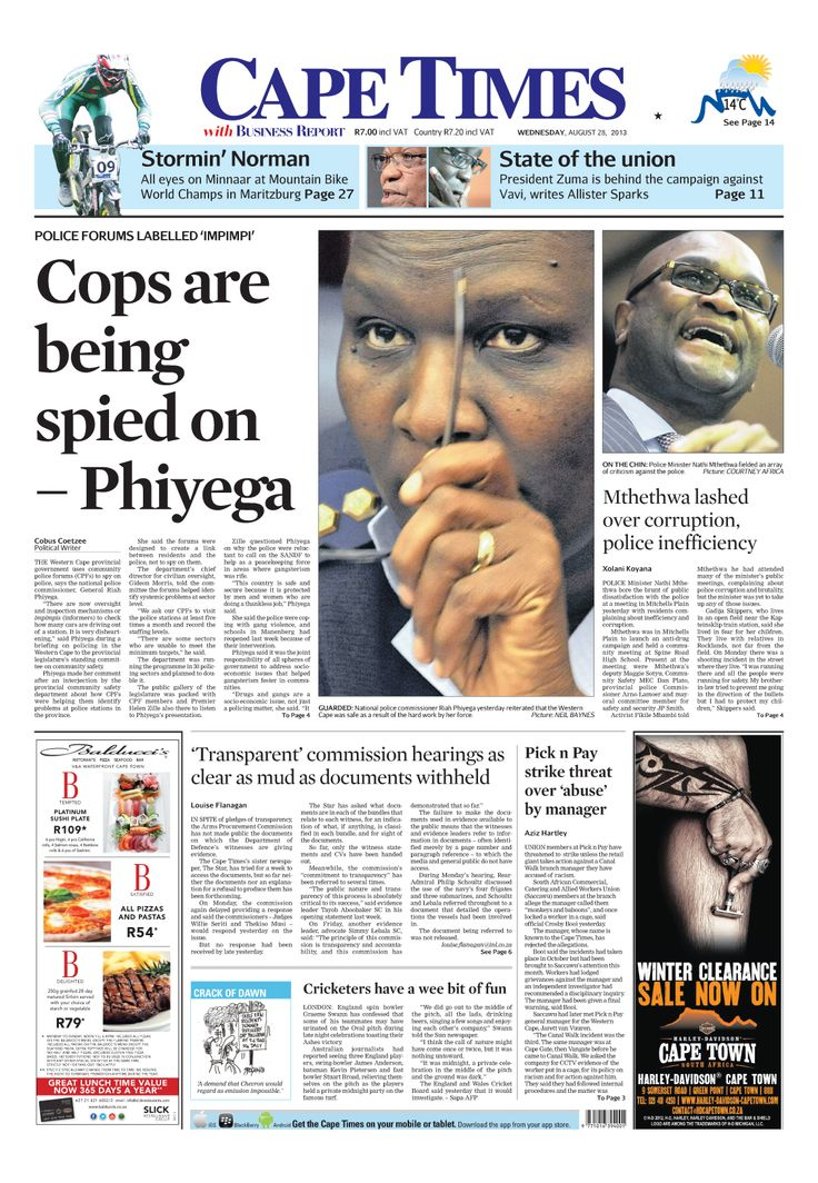 News making headlines: Cops are being spied on, says Phiyega