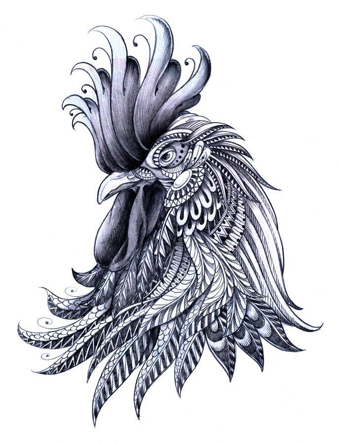 Cabeza de gallo, zentangle.