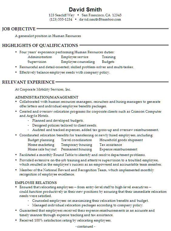 human resources job resume example