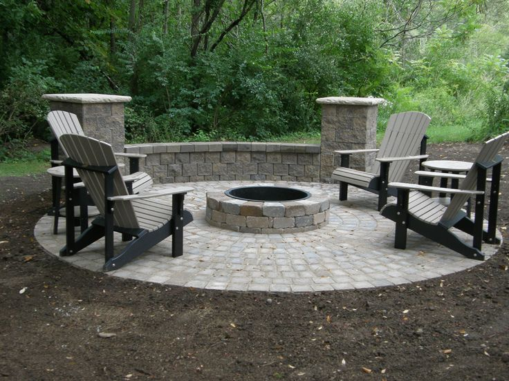 Genial Famous Stone Patio With Fire Pit Chair Fire Pit Seating With Round Stone Fire  Pit As Small Patio