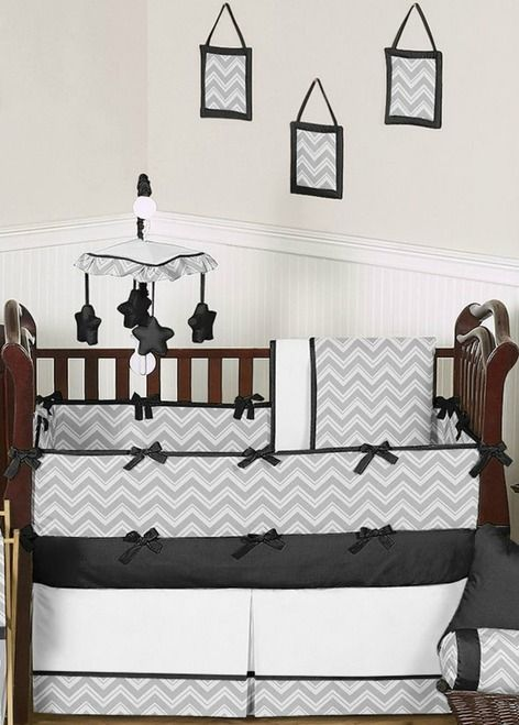 Buy Black and Gray Chevron ZigZag baby bedding - 9pc crib sets by Sweet Jojo Designs and add a modern touch to your nursery. BabysOwnRoom.com: Free Shipping, Great Service!