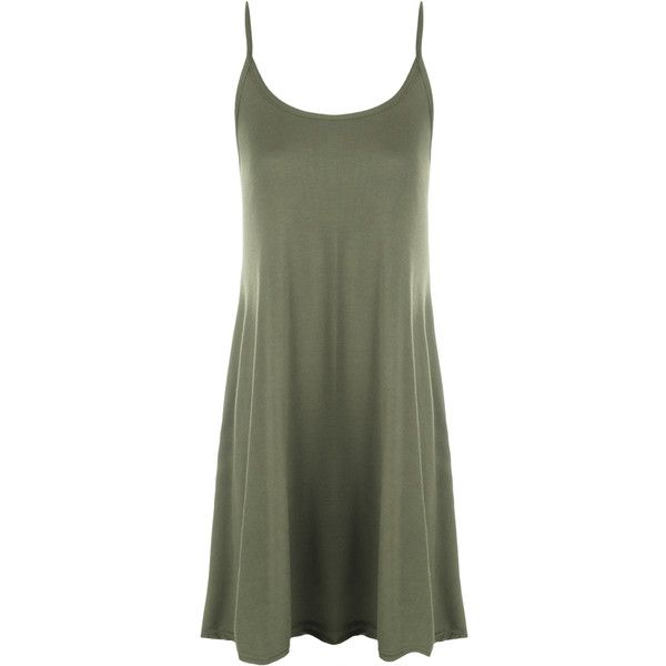 Alena Plain Strappy Swing Dress (600 UYU) ❤ liked on Polyvore featuring dresses, short dress, khaki, green summer dress, swing dress, khaki dress, green dress and flared dress
