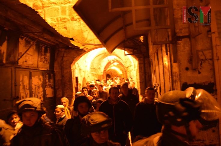 Israel Intimidation tactic through nightly 'settler-tour' in Palestinian market in West Bank.