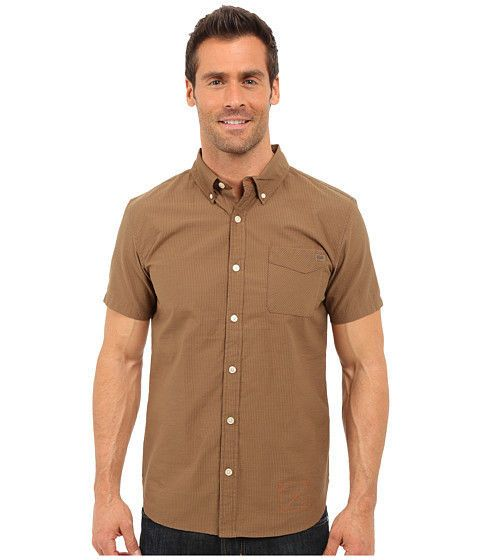 OUTDOOR Research SHIRT Brown STRIPED Large MENS Tisbury S/S Organic COTTON Blend #OutdoorResearch #ButtonFront