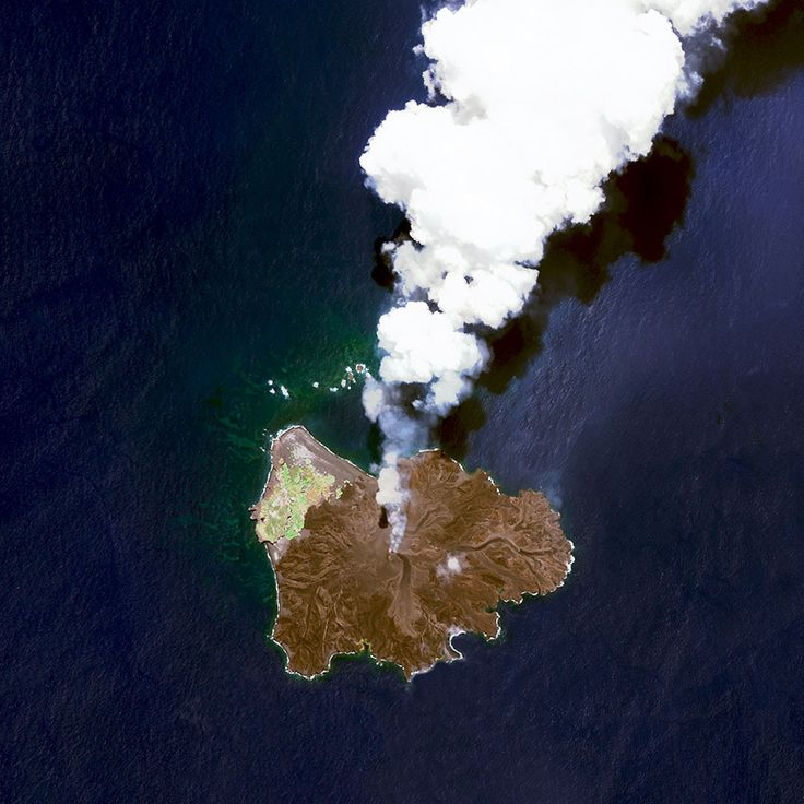 Nishinoshima is a volcanic island located 940 kilometres (584 miles) south of Tokyo, Japan. Starting in November 2013, the volcano began to erupt and continued to do so until August 2015. Over the course of the eruption, the area of the island grew in size from 0.06 square kilometres (0.02 square miles) to 2·3 square kilometres (0·89 square miles).