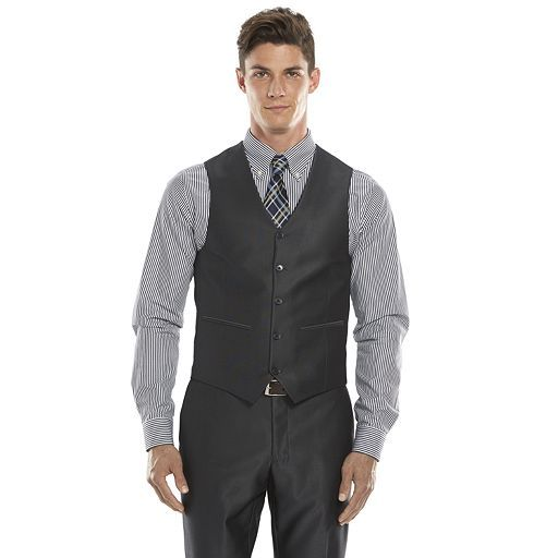 Men's Savile Row Modern-Fit Charcoal Sharkskin Suit Vest