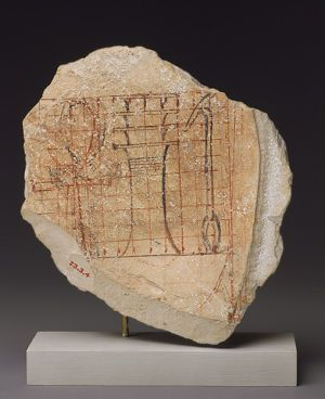 Artist's gridded sketch, New Kingdom, Dynasty 18, reign of Hatshepsut, ca. 1479–1458 B.C.  Egyptian; From western Thebes  Limestone and ink