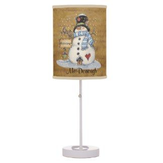Folk Art Snowman on Old Newspaper Lamps