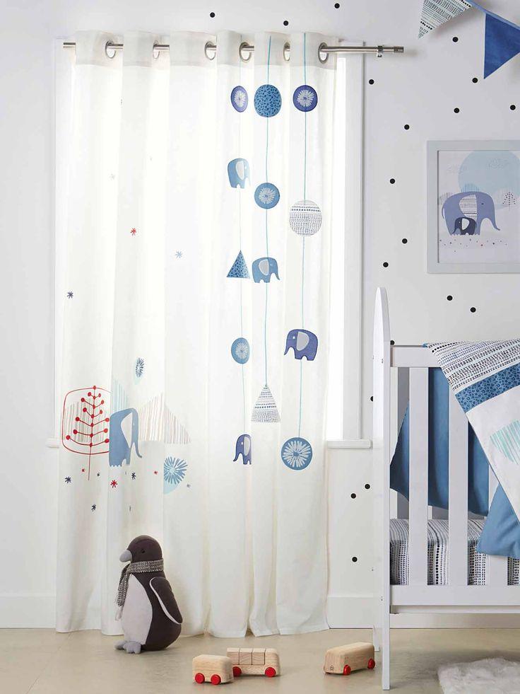 Rideau b chette b b th me blue safari chambre et linge for Modele rideau chambre bebe