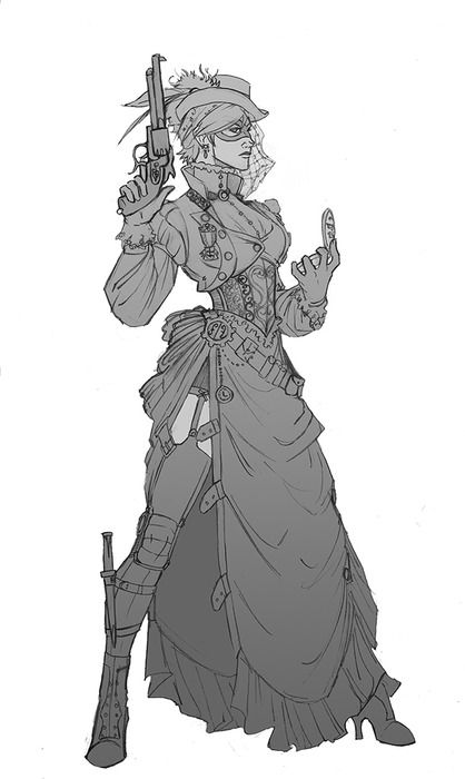 Amazing steampunk art. Love every little detail on her clothes and especially her stance.  If anyone knows the source of this, please let me know