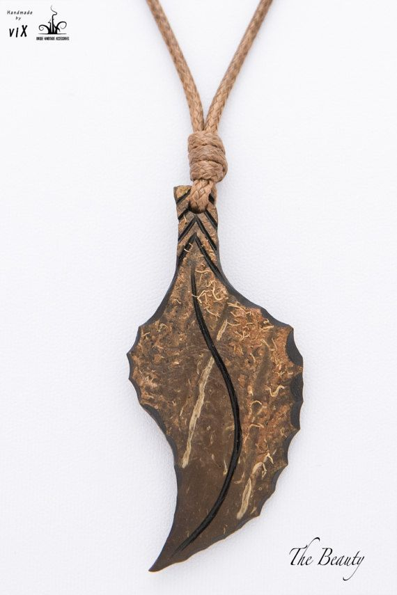 Wood Leaf Pendant from Coconut Shell Sword by TheBeautyJewelryShop