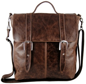 Rustic brown leather unisex 'Dylan' messenger bag. (S/S 2011)