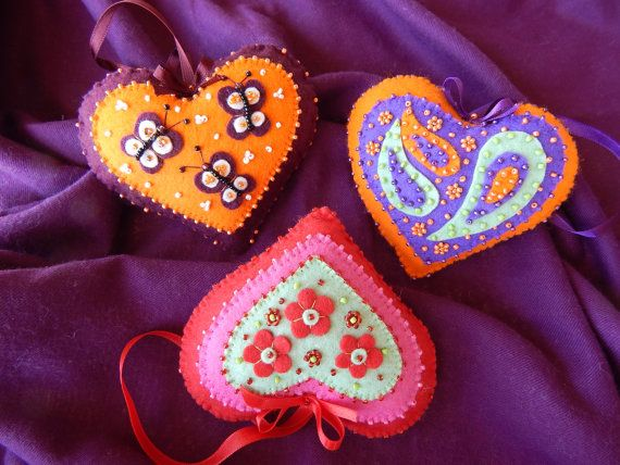 Color Explosion Heart Ornaments by cuoredamore on Etsy