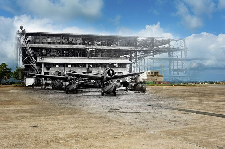 Hangar 6 on Ford Island stands badly damaged after the attack on Pearl Harbor. - Then And Now Photos Of Pearl Harbor That Bring History To Life  Best of Web Shrine