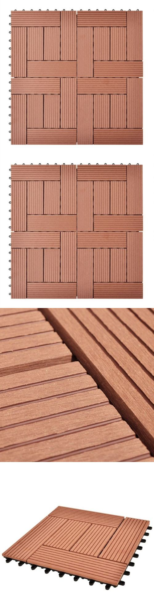 Deck Boards and Tiles 118860: Vidaxl 11 Pcs Wpc Decking Tiles Wood Plastic Composite Boards 11.8 X11.8 Brown -> BUY IT NOW ONLY: $41.99 on eBay!