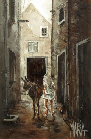 Street Scene with Child and Donkey  600 x 900 by Maria M Oosthuizen