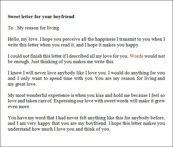 Sample Love Letters To Boyfriend   Free Documents In Word, PDF  Love Letter Template For Him