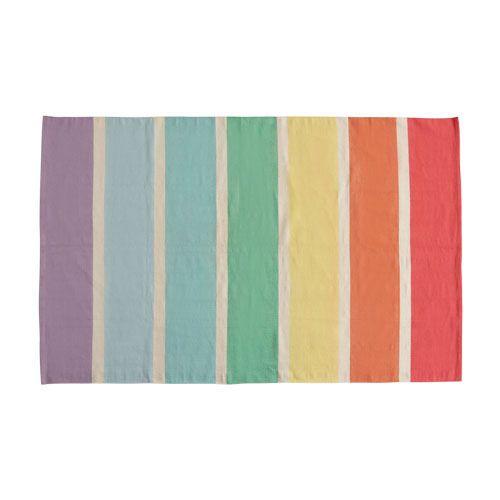 Striped Cotton Rug - Rainbow