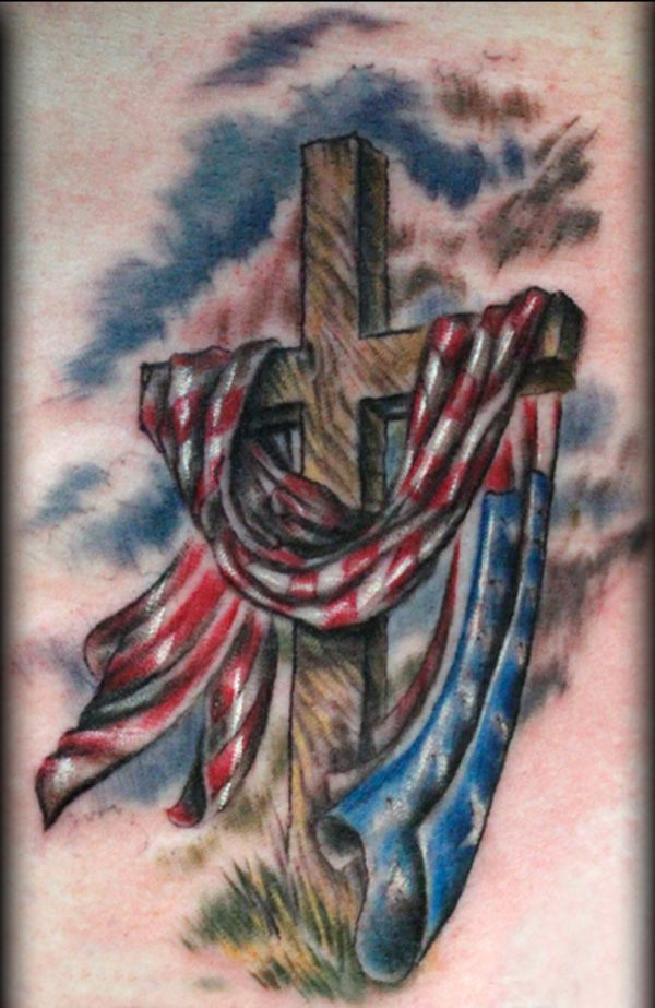 Empty Cross with American Flag Tattoo