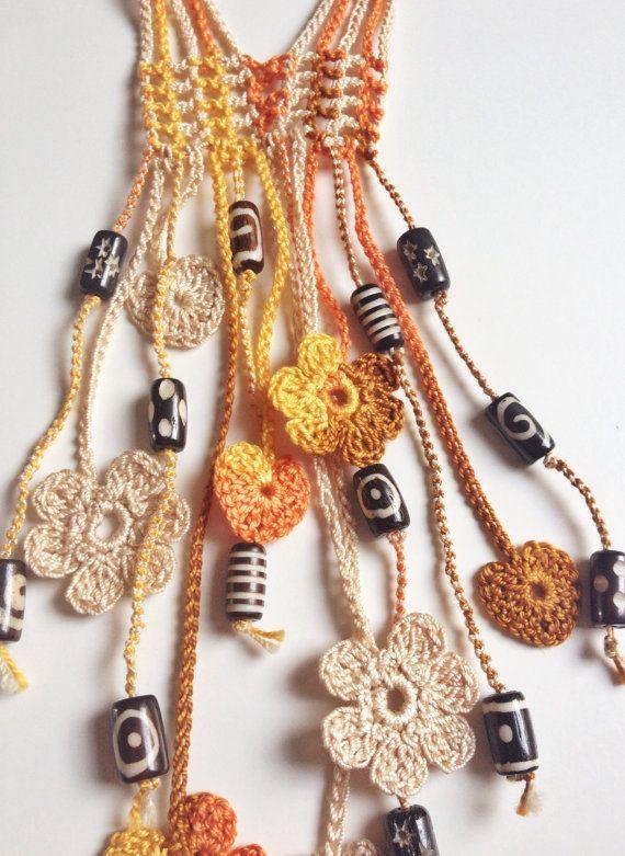 Flowery hearted orange & brown beaded crochet necklace