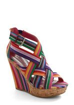 Wedges - Moveable Stripe Wedge.. Sassy and fun shoe.. would go with everything!: Shoes, Moveable Stripe, Wedges, Mod Retro, Stripe Wedge, Stripes, Rainbow, Modcloth Com, Retro Vintage