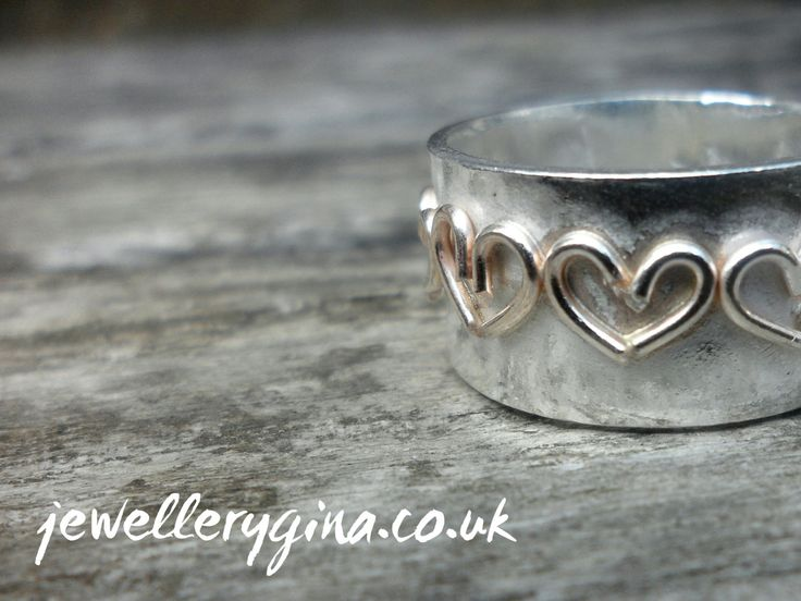 Silver Band with 18ct Gold Hearts by JewelleryGina on Etsy,