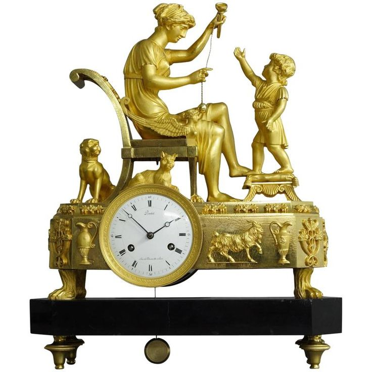 """French Empire Mantel Clock """"The Cup-and-Ball Lesson"""" 1"""