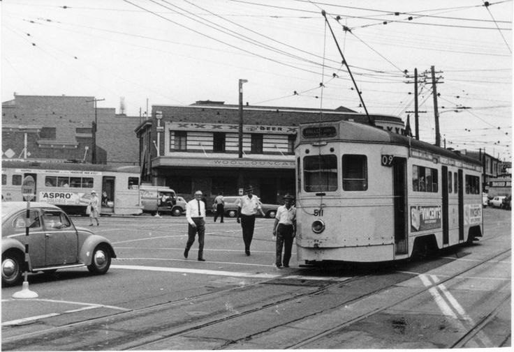Tram at the Fiveways, Woolloongabba, Brisbane, 1968