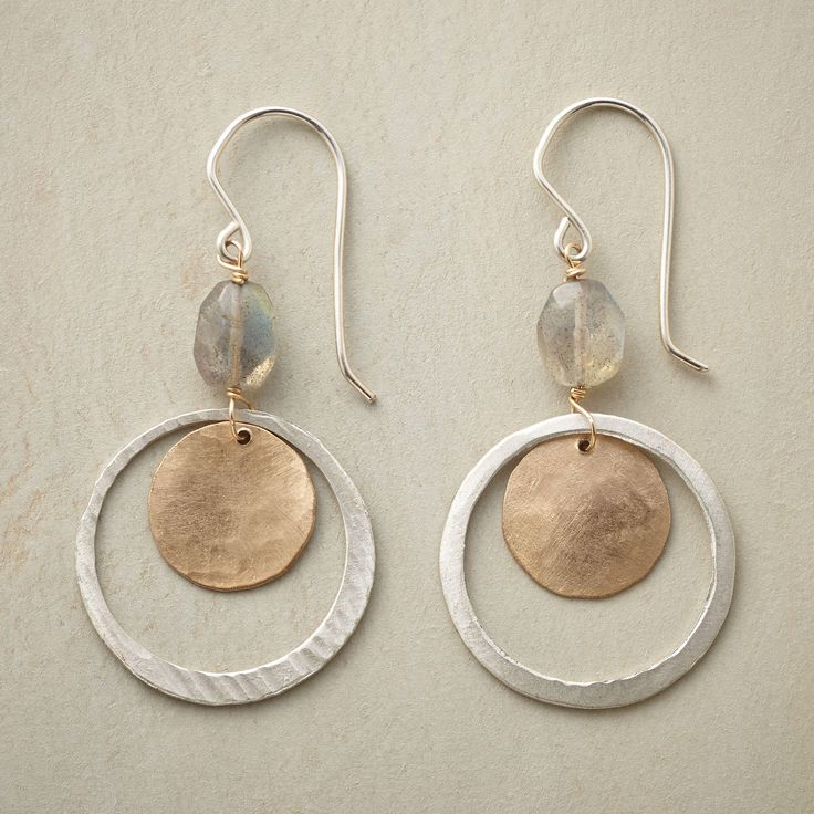 "LUNAR ORBIT EARRINGS�--�Beneath the heavenly iridescence of labradorites, sterling silver hoops orbit moon-like disks handcrafted of 14kt gold filled. French wires. Handmade in USA. 1-7/8""L."