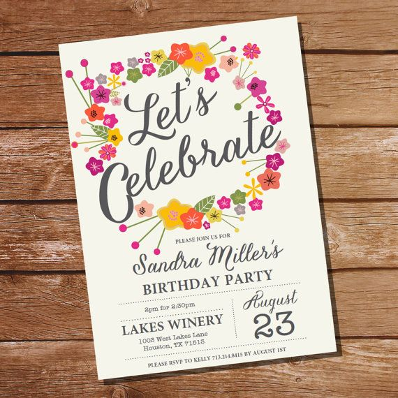 Let's Celebrate Floral Birthday Invitation - 30th 40th 50th 60th 70th 80th birthday invitation - Instant Download and Edit with Adobe Reader