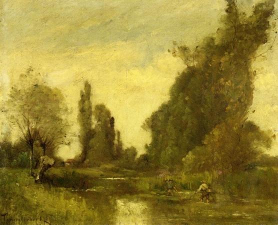 Pêcheurs par un pool, huile sur toile de Paul Désiré Trouillebert (1829-1900, France)