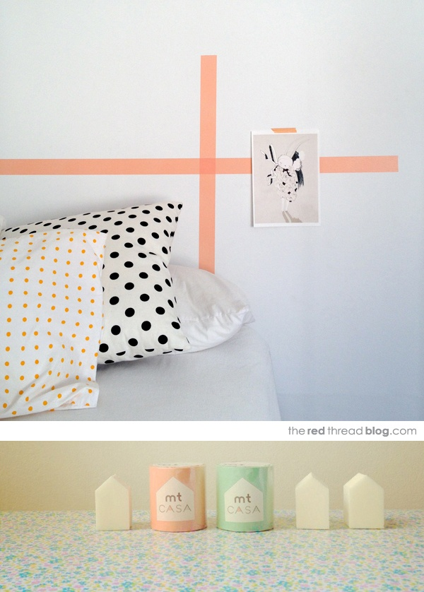 Washi Tape accent on a wall: http://www.theredthreadblog.com/washi-tape-and-leila-jeffreys