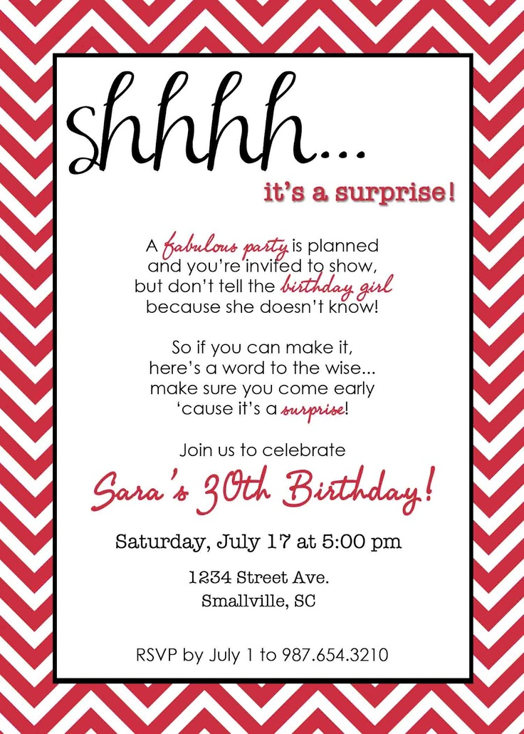 22 best Birthday invites images – Surprise 40th Birthday Invitation Wording