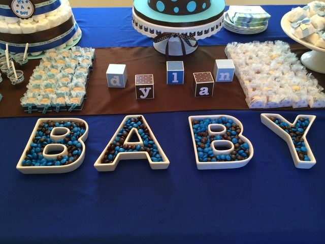 Blue and Brown Baby Shower Party Ideas   Candy dishes ...