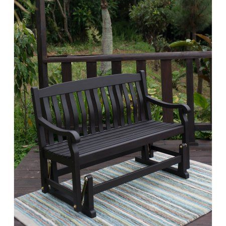 Delahey Outdoor Porch Glider Bench, Dark Brown, Seats 2 - Walmart.com More