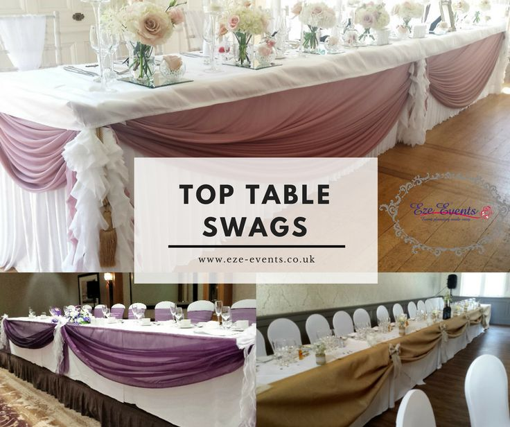 wedding table linen ideas for top table swags
