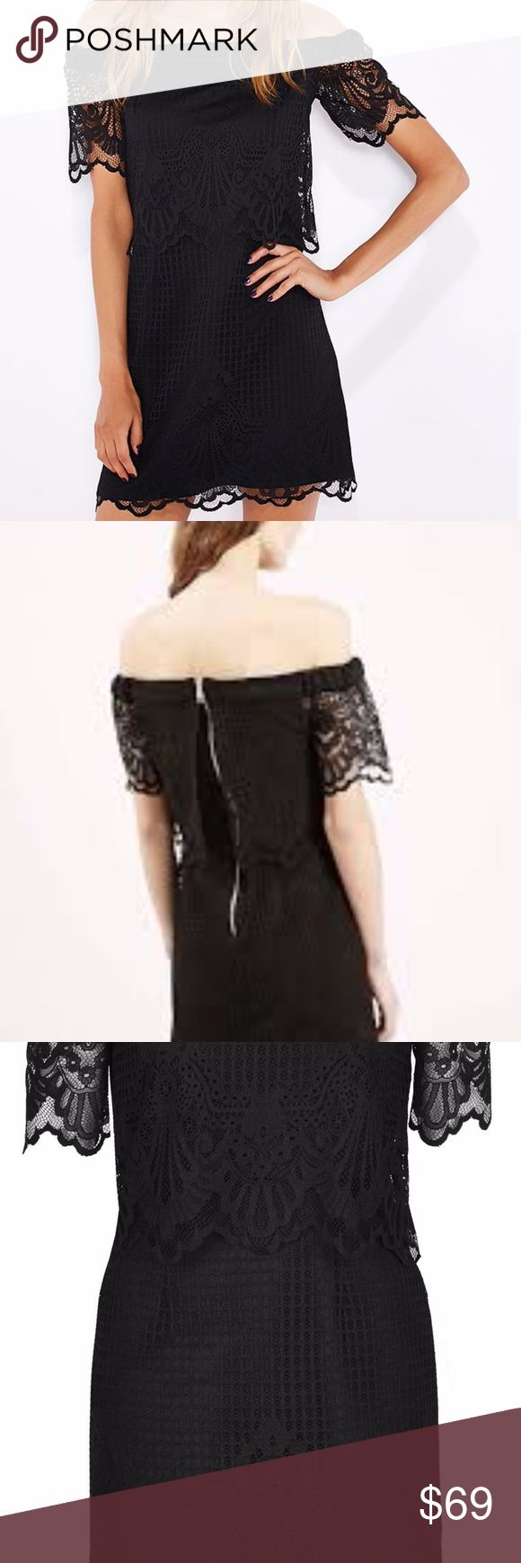 NWT Topshop Petite Bardot Black Lace Dress Pretty lace dress with bardot neckline and crop overlay to the top. Fastens with back zip.100% Polyester. Machine wash. Perfect little number to dress up for a Halloween party! Topshop Dresses