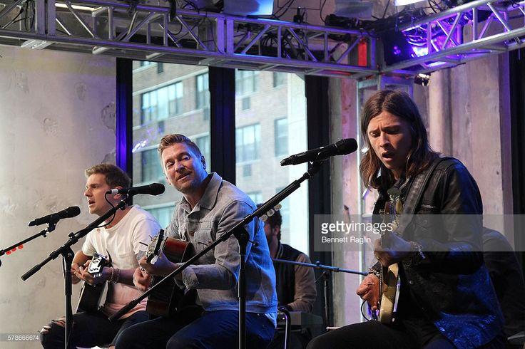 Ê (L - R) Bo Rinehart, Josh Lovelace, Bear Rinehart and Seth Bolt of NeedtoBreathe perform at the AOL Build Speaker Series at AOL HQ…